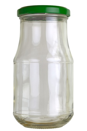 focus stacking: Close up of a empty preserving glass isolated on white.