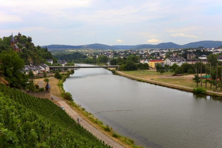 saar: View of the River Saar in the city  Saarburg, Rheinland-Pfalz, Germany, evening  Stock Photo