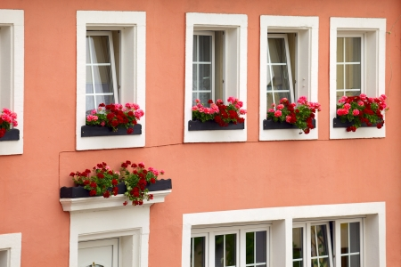 Historic facade of the house in town Saarburg, Rhineland-Pfalz, Germany  Stock Photo