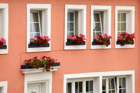 Historic facade of the house in town Saarburg, Rhineland-Pfalz, Germany  Standard-Bild