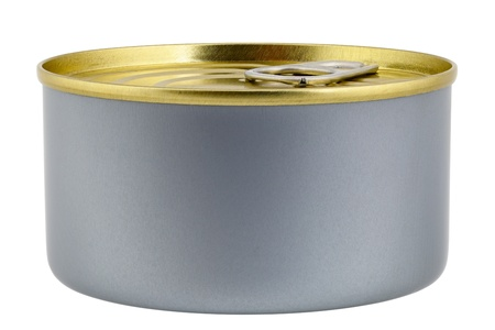 sardine can: Close up of a sardine can isolated on white background, focus stacking