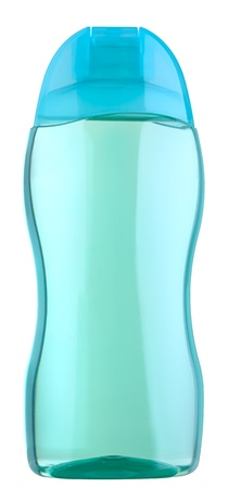 Close up of a cosmetics bottle (plastic) isolated on white , 2 images stitched Stock Photo