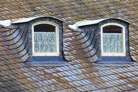 Old historic roof  in small city Saarburg, Rheinland-Pfalz, Germany, evening, summer Stock Photo - 15053925