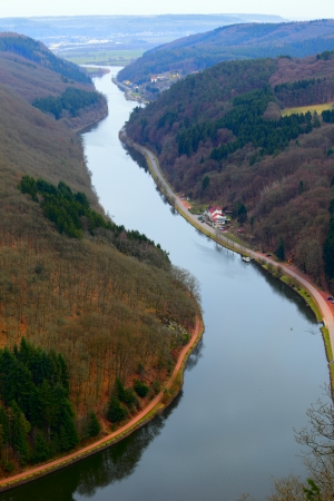 View of the Saar loop (Saarschleife) from the view point in Orscholz, Saarland  Germany. A warm spring evening. Stock Photo