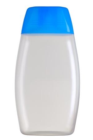 botellas vacias: Primer plano de una botella cosm�tica (pl�stica) aislada en blanco.
