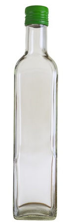 focus stacking: Close up of a empty vodka glass bottle isolated on white, 2 images stitched.