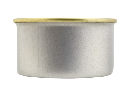 focus stacking: Close up of a sardine can isolated on white background, focus stacking