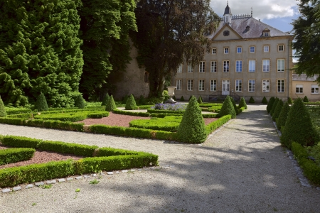 schengen: View of a old convent in city Schengen, Luxembourg, summer Stock Photo