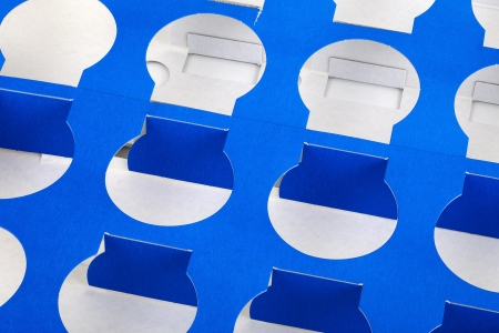 focus stacking: Close up of a blue cardboard background  this is a wrapping box from joghurt cups