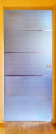 Close up of a modern glass door, stitched and Hdr