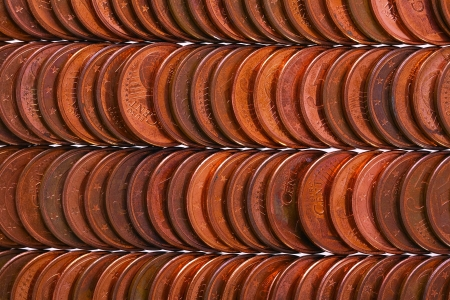 Euro coins (5 cent) as interesting background, studio sho photo