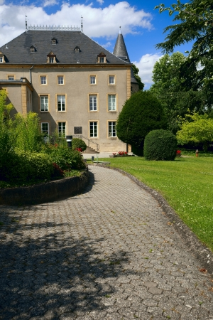 schengen: View of a old convent in city Schengen, Luxembourg, summer Editorial
