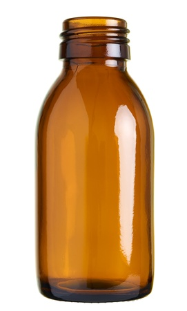 Close up of a small glass bottle  pill sirup bottle  isolated on white background Standard-Bild