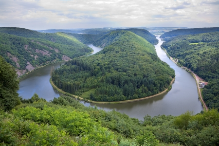 saar: View of a river Saar with Saarschleife  by city Orscholz, Saarland  Germany, summer, panoramic Stock Photo