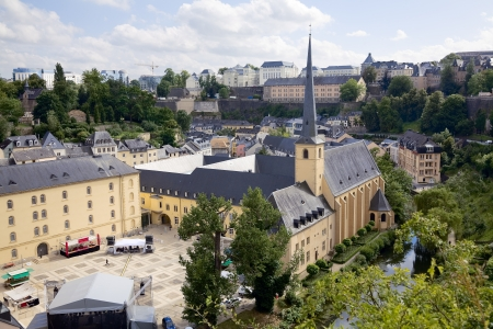 sacral: View of old monastery in city Luxembourg - Luxembourg, summer