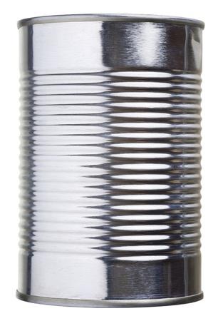 conservacion alimentos: Primer plano de una lata aislado en blanco con trazado de recorte