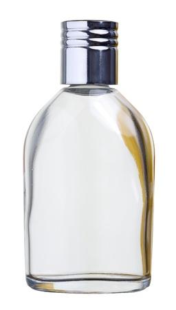 botellas vacias: Primer plano de una botella de perfume aislado sobre fondo blanco, con trazado de recorte Foto de archivo