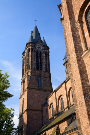 The church in city Dillingen in a sunny morning, Saarland / Germany Stock Photo - 16915905