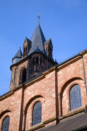 saarland: The church in city Dillingen in a sunny morning, Saarland  Germany