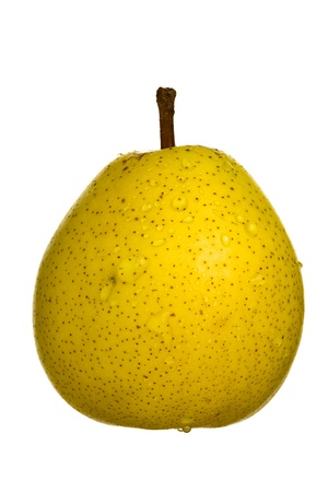 Close up of a pear fruit, isolated on white background