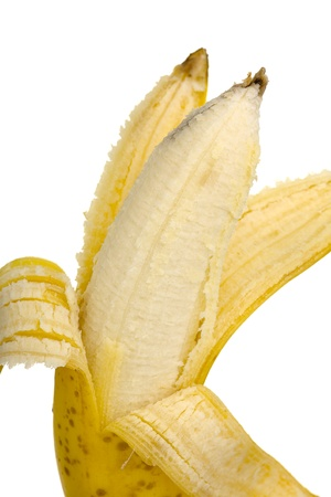 Close up of a open banana fruit isolated on white background Stock Photo - 16915736