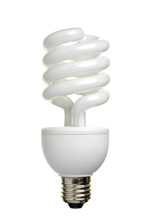 Close up of a fluorescent light bulb, isolated on white background Stock Photo