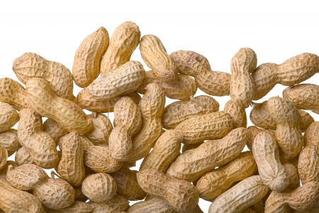 Close up of peanuts, isolated on white background Stock Photo - 16915917