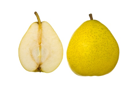 two and a half: Close up of two half of pear fruit, isolated on white background