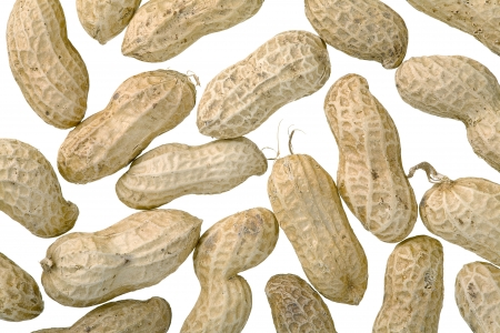 Close up of peanuts, isolated on white background Stock Photo - 16944236