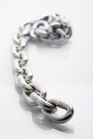 Close up of a chain, isolated on white( background photo