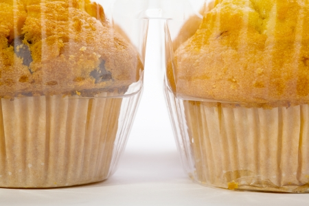 Close up of a muffin cookies with chocolate chips in a plastic container, Stock Photo - 17070582