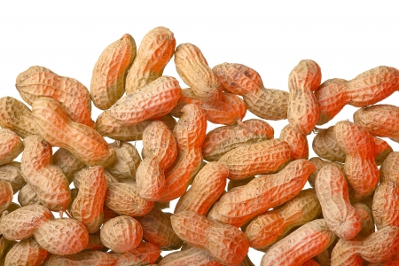 Close up of peanuts, isolated on white background, red light Stock Photo - 17111894