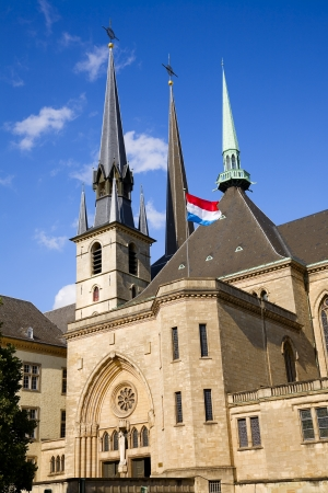 View of old church in city Luxembourg - Luxembourg, summer Stock Photo - 17359443