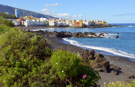 Rocky Atlantic coast for Puerto de la Cruz, playa de Jardin, Tenerife, Canary Islands  Spain photo