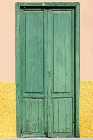 Old historic wooden door in Puerto de la Cruz, Tenerife, Canary Islands, Spain Stock Photo