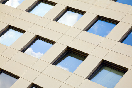 View of modern stone facade in city Luxembourg  Luxembourg, summer Stock Photo