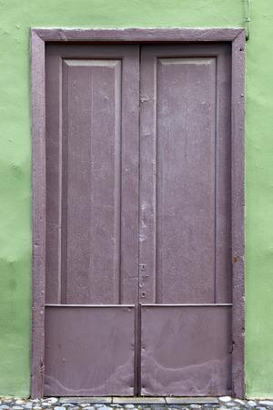 Old historic wooden door in Puerto de la Cruz, Tenerife, Canary Islands, Spain Stock Photo