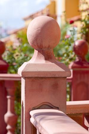 adeje: Detail of balustrade in city Costa Adeje, Tenerife, Canary Islands, Spain. Stock Photo