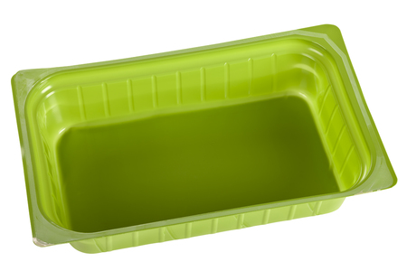 hardboard: Green plastic mold isolated on white background