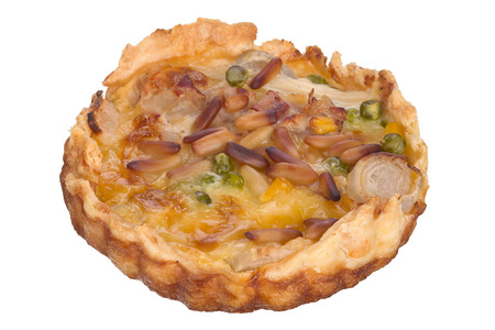 focus stacking: Handmade quiche isolated on white background.
