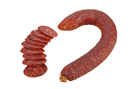 dry sausage: Dry sausage salami isolated on white background, focus stacking. Stock Photo