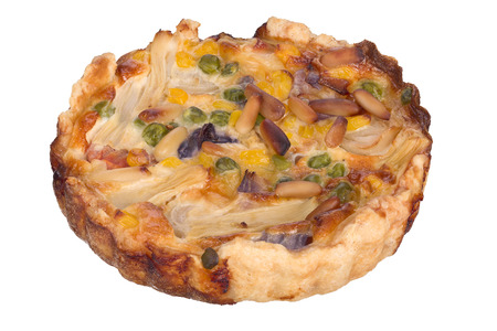 Handmade quiche isolated on white background.