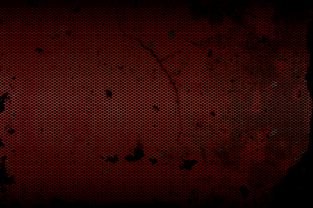 fray: black, red and rust metallic mesh fray  background texture. Stock Photo