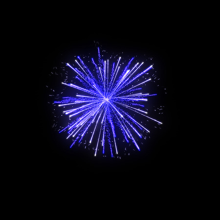 diwali celebration: blue firework on black background for celebration party. merry christmas and happy new year.