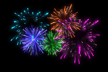 diwali celebration: colorful fireworks at celebration midnight. merry christmas and happy new year.