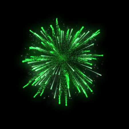 diwali celebration: green firework on black background for celebration party. merry christmas and happy new year.