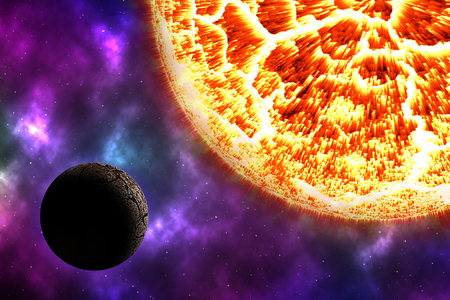 solar burn dead planet on cosmos with colorful nebular Stock Photo