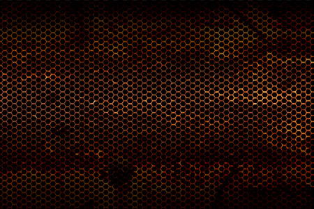 speaker grille pattern: black, red and rust metallic mesh fray  background texture. Stock Photo
