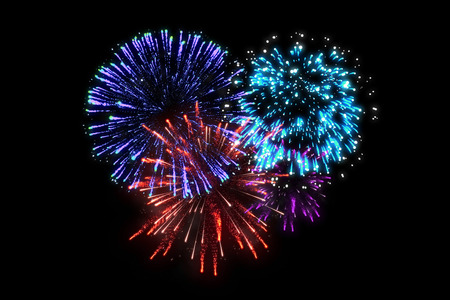 colorful fireworks at celebration midnight. merry christmas and happy new year.