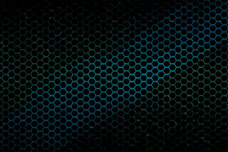 blue metallic background: black, blue and green metallic mesh fray  background texture. Stock Photo